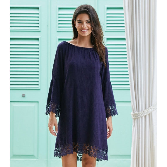 Blue Navy Cabo Crinkle Lace Dress