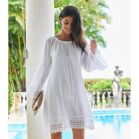 White Cabo Crinkle Lace Dress