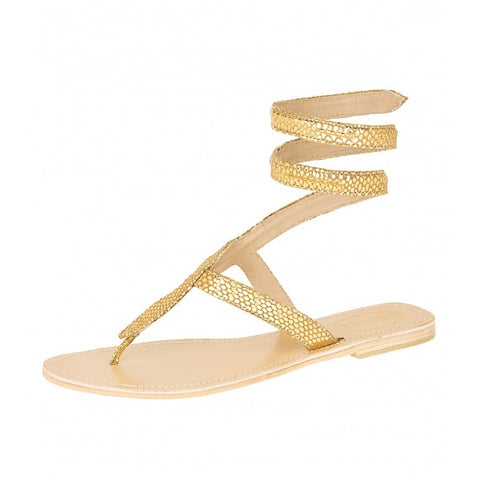 Gold Cobra Natural Leather Sandals
