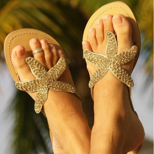 baad44e13 Gold Starfish Beaded Natural Leather Sandals