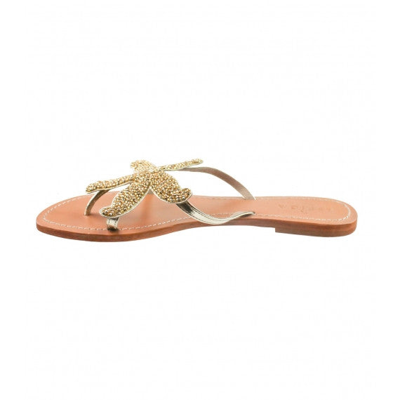 Gold Starfish Beaded Natural Leather Sandals