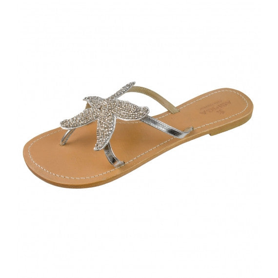 Silver Starfish Beaded Natural Leather Sandals