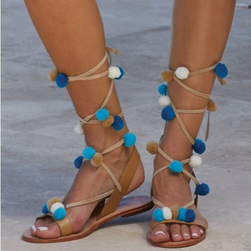Blue Pom Pom Natural Leather Sandals