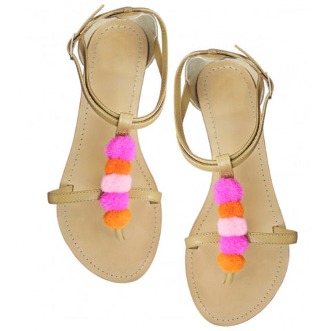 Pink Pom Pom Natural Leather Sandals