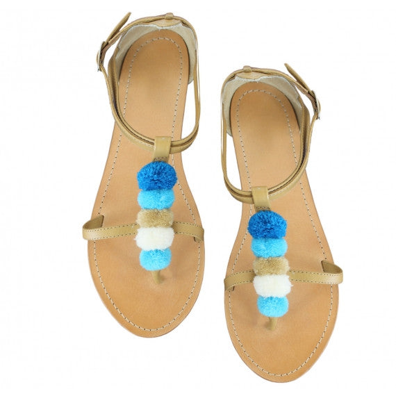 Blue Pom Pom Navvy Natural Leather Sandals