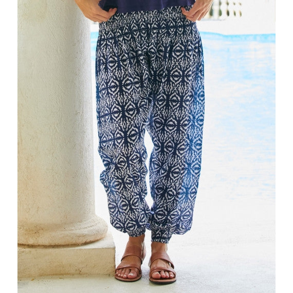 Blue Navy & White Ikat Harem Cotton Trousers