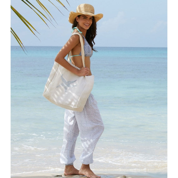 White/Silver Starfish Jute Beach Bag