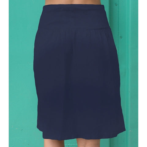 Blue Navy Bobbin Linen Skirt