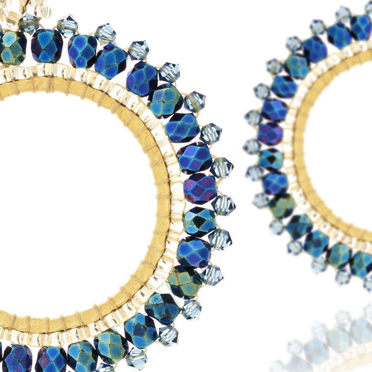 Navy Swarovski Crystal Hoop Earrings