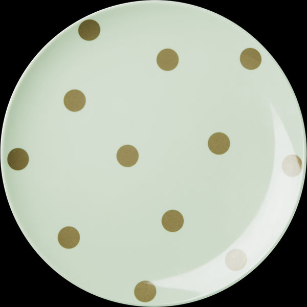 Melamine Green Side Plate with Gold Polka Dots
