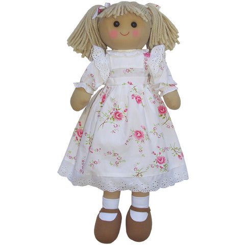 Traditional Rag Doll With Floral White Dress