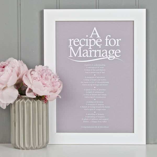 'A Recipe For Marriage?' Poem Print