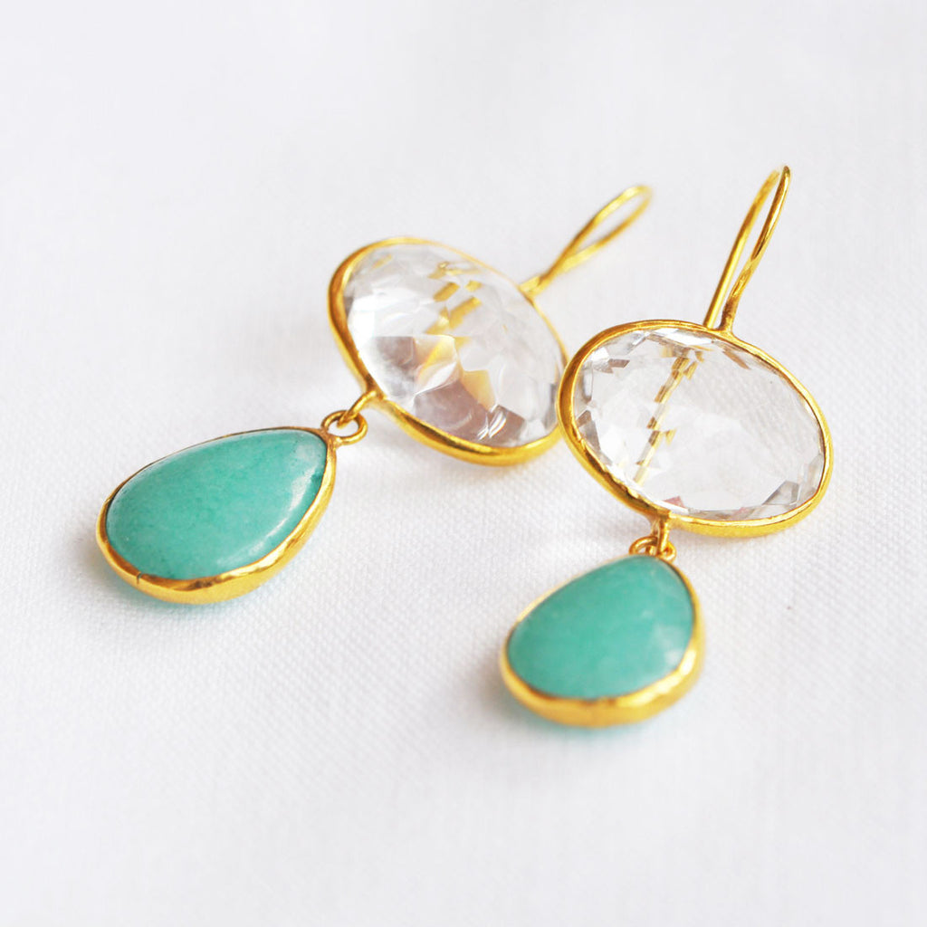 Gold Plated Crystal + Amazonite Earrings