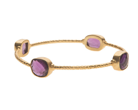 Chunky Amethyst Stone Bangle