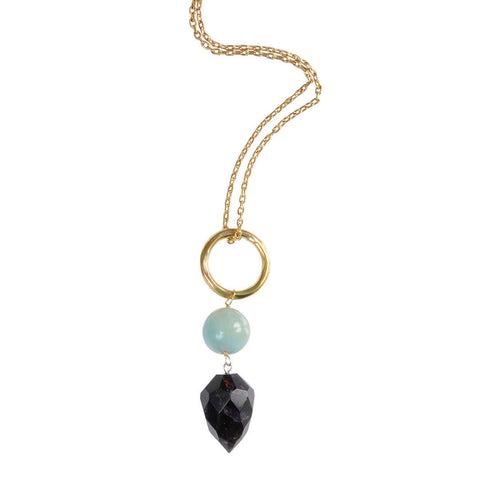 Brass Necklace with Amethyst & Amazonite Pendant
