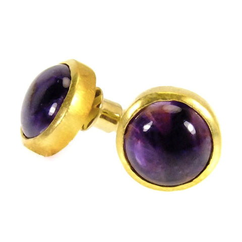 Amethyst Cabochon Stud Earrings