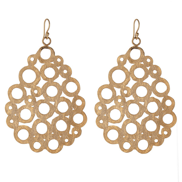 Brushed Gold Cutwork Teardrop Earrings