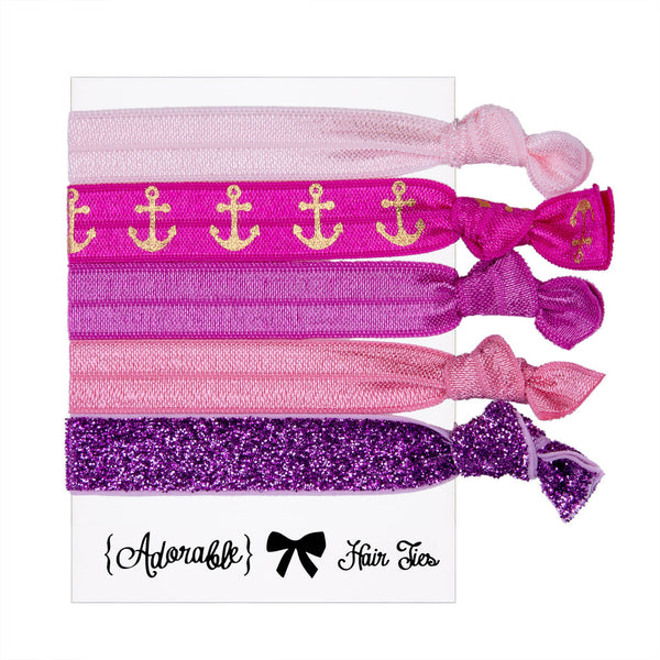 Hair & Wrist Band Multipack (Anchor Pink)