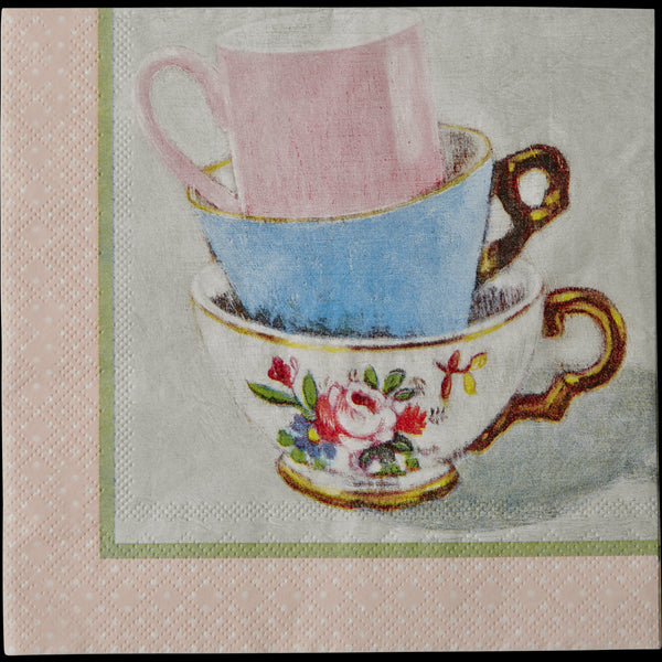 20 Paper Napkins with Andrea Teacup Print