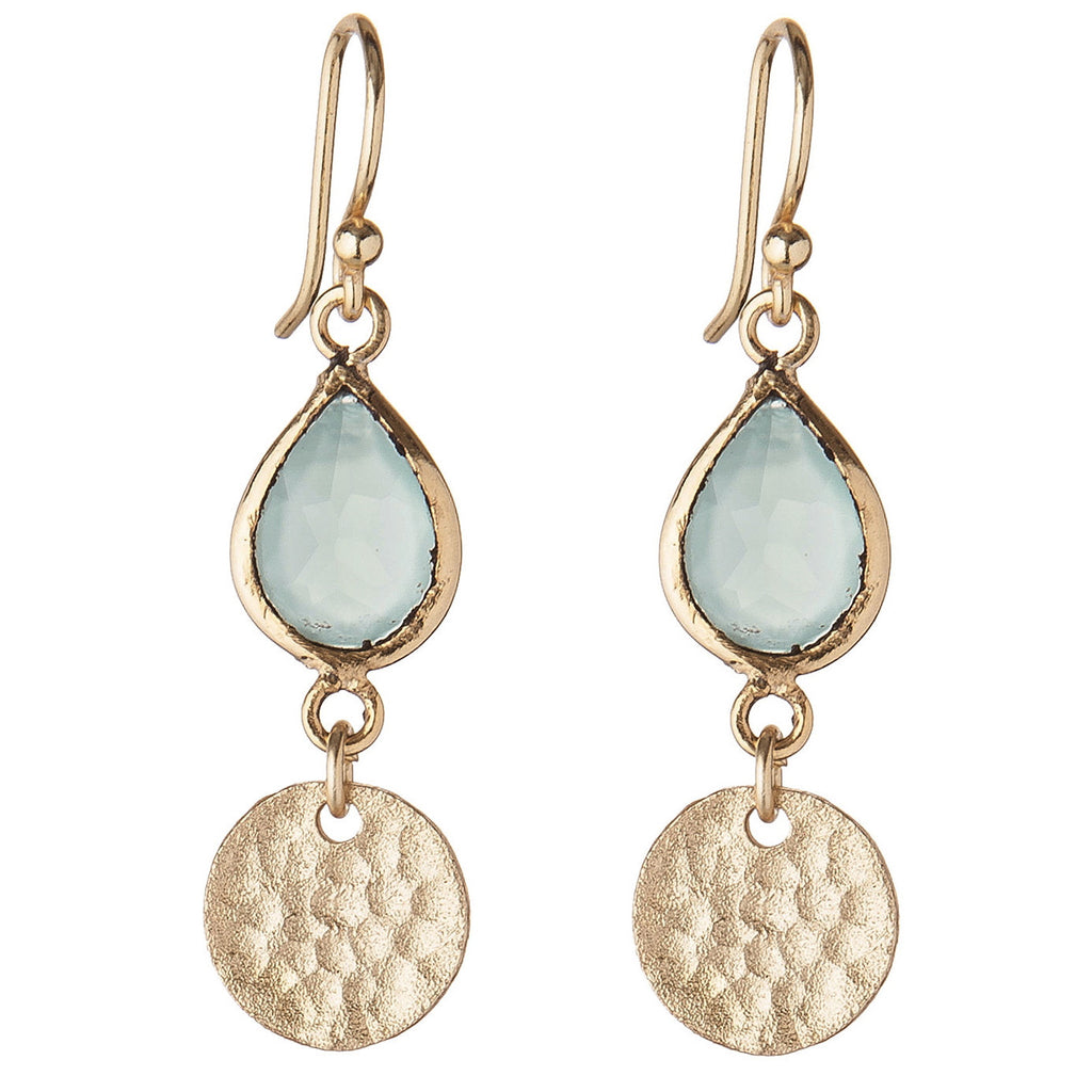 Aqua Chalcedony Disc Drop Earrings