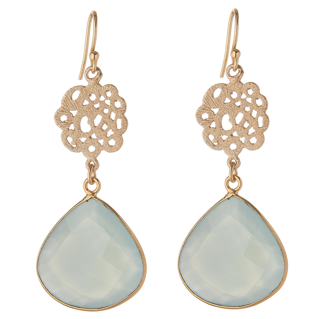 Aqua Chalcedony Cutwork Earrings