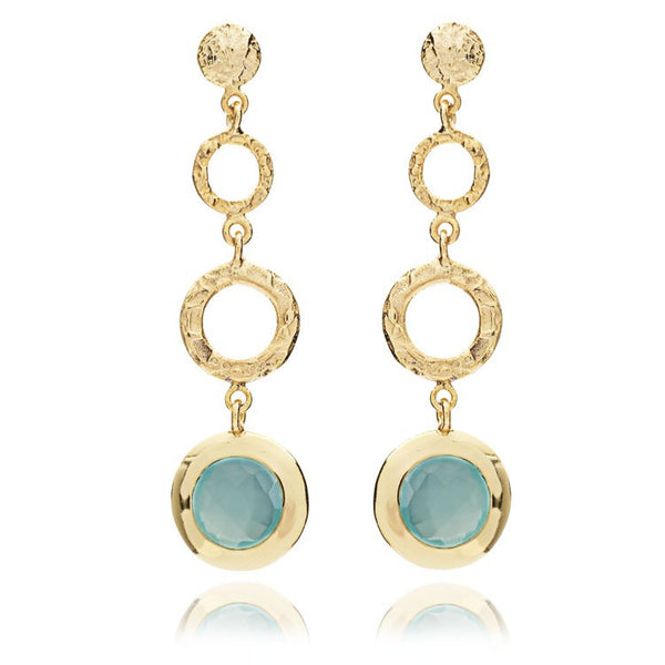 Aqua Long Hoop Textured Drop Earrings