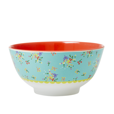 Aqua Mini Flower Melamine Print Bowl