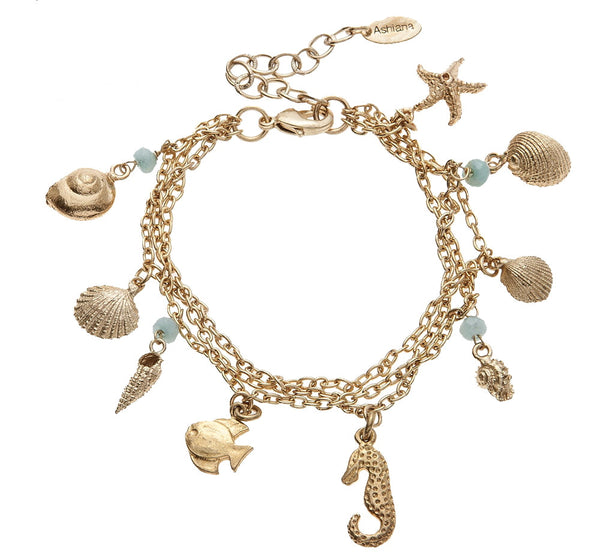 Gold Plated Aqua Sea Charm Bracelet