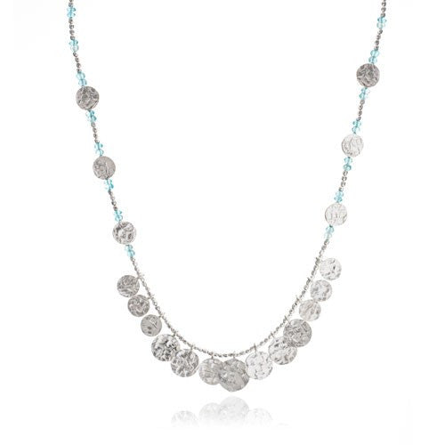 Aqua Semi-Precious Textured Silver Coin Necklace