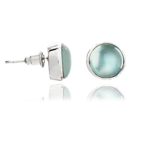 Aqua Silver Stud Earrings