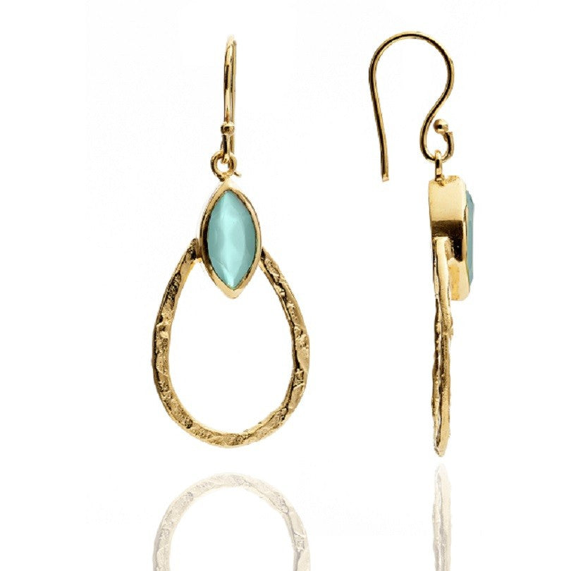 Aqua Chalcedony Teardrop Hoop Earrings