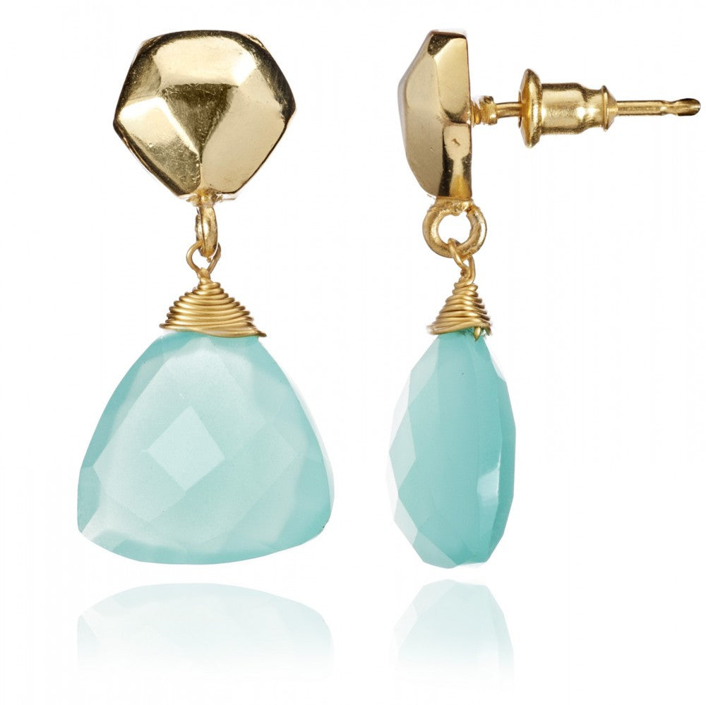 Azuni Athena Semi Precious Aqua Drop Earrings