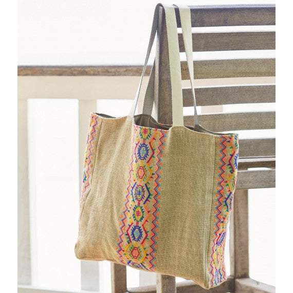 Multi Aruba Jute Beach Bag