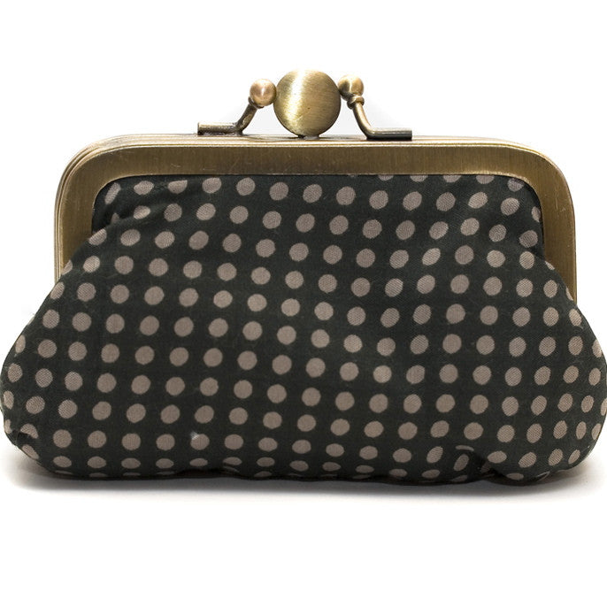 Charcoal Polka Dot Purse