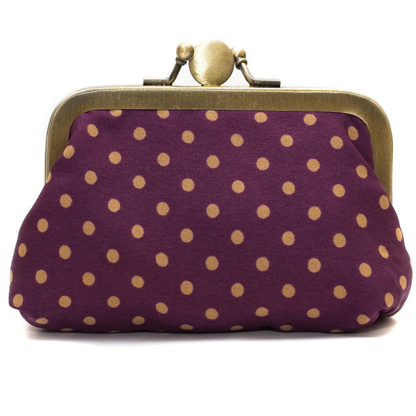 Damson Polka Dot Purse
