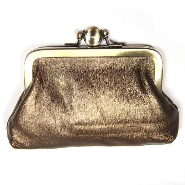 Copper Leather Clip Purse