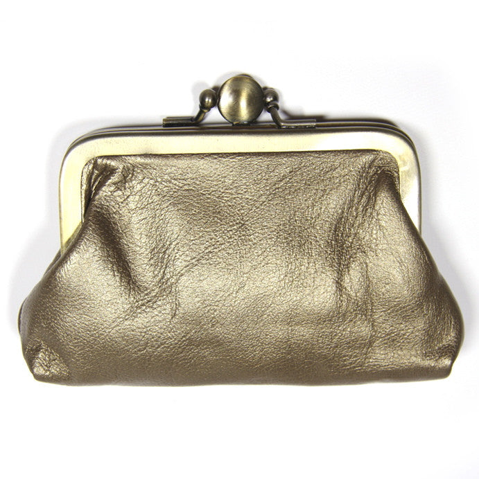 Gold Leather Clip Purse