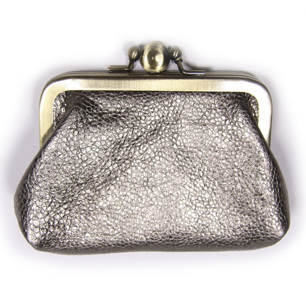 Pewter Leather Clip Purse