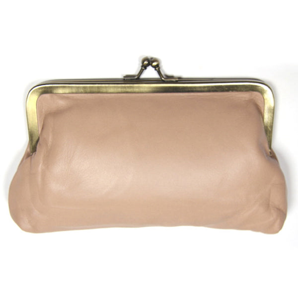 Ballet Pink Leather Clutch Bag