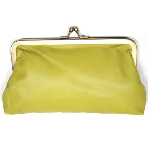 Chartreuse Leather Clutch Bag