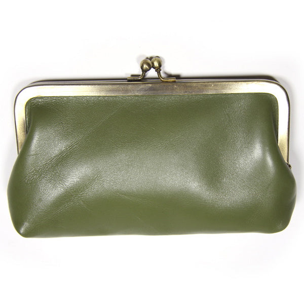 Olive Leather Clutch Bag