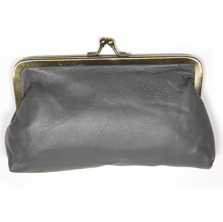Slate Grey Leather Clutch Bag