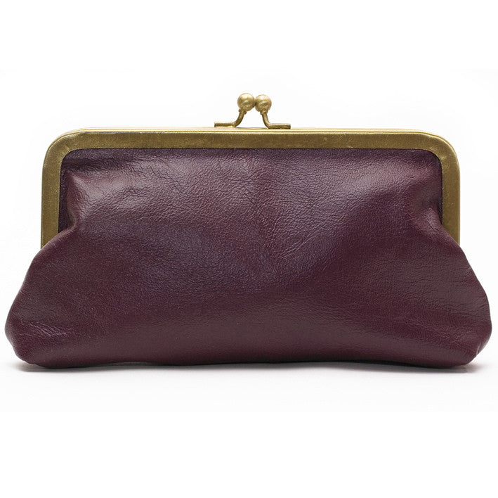 Blackberry Leather Clutch Bag