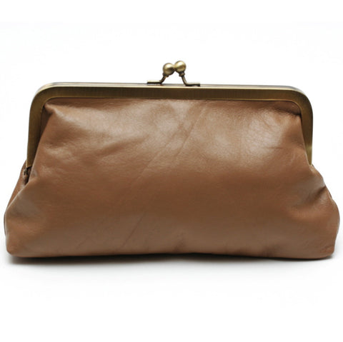 Brown Tan Leather Clutch Bag