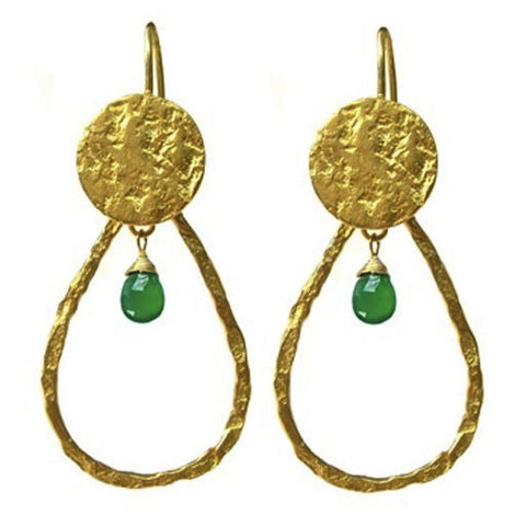 Green Chalcedony Tear Drop Earrings
