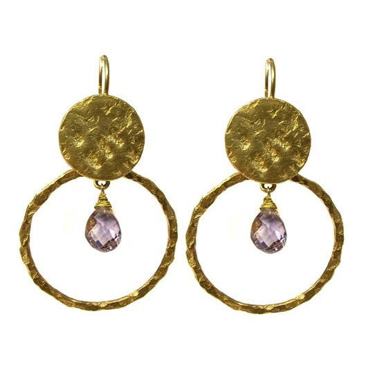 Amethyst Hoop & Disc Earrings