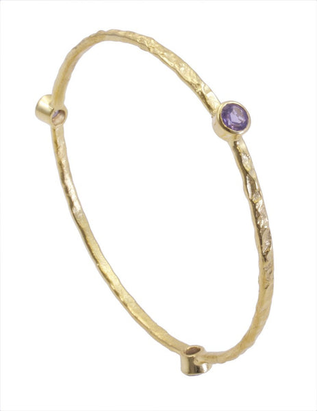 Amethyst Gold Plated Stacking Bangle