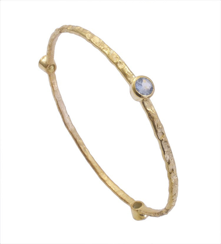 Blue Topaz Gold Plated Stacking Bangle
