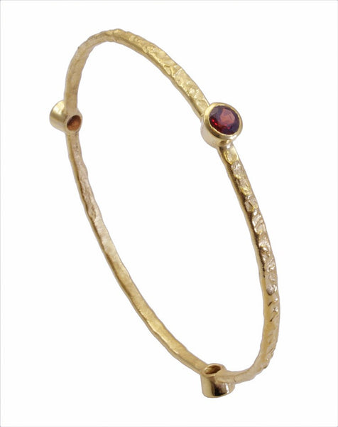 Garnet Gold Plated Stacking Bangle