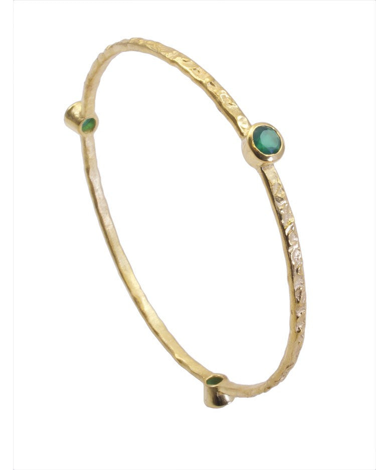 Green Chalcedony Gold Plated Bangle